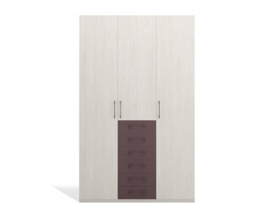Wardrobe with hinged doors with drawers