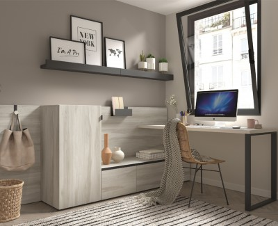 Desk with storage unit, drawers and magazine shelves