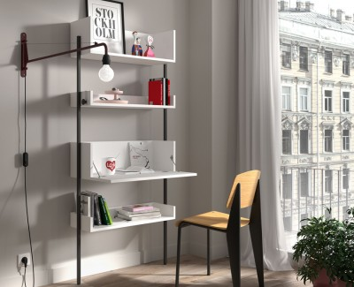 Shelving unit with desk