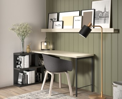 Desk with shelving unit and magazine shelves