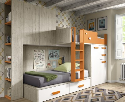 Children's bedroom comprised of bunk bed, bridging unit and pull-out desk
