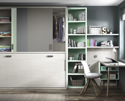 Children's bedroom comprised of wall bed, shelving unit, desk and wardrobe
