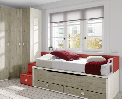 Single bed with trundle bed and 2 drawers