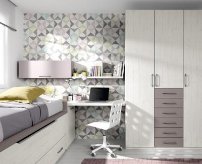 Children's bedroom comprised of storage bed, wardrobe, desk and shelves