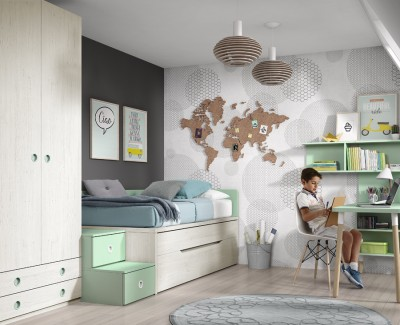 Children's bedroom comprised of storage bed, wardrobe and desk
