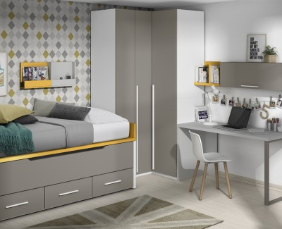 Children's bedroom comprised of storage bed, corner wardrobe, desk and shelves