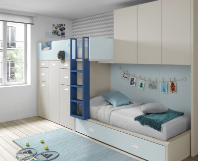 Children's bedroom comprised of bunk bed, bridging unit and 2 pull-out desks