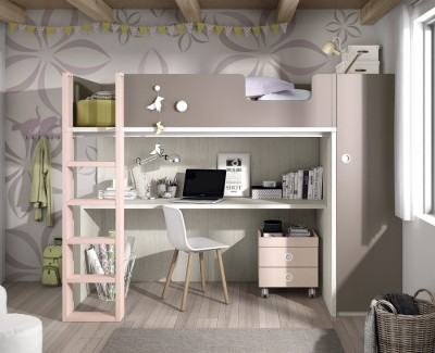 Children's bedroom comprised of bunk bed, wardrobe and desk