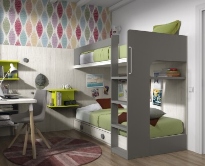Children's bedroom comprised of bunk bed and desk