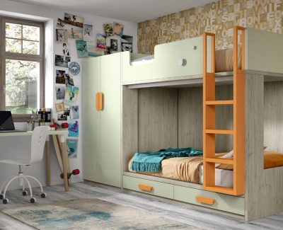 Children's bedroom comprised of bunk bed, wardrobe and desk
