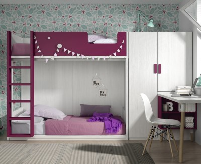Children's bedroom with bunk bed, wardrobe and desk