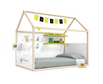 Children's bedroom set comprising a panelled house bed with shelves
