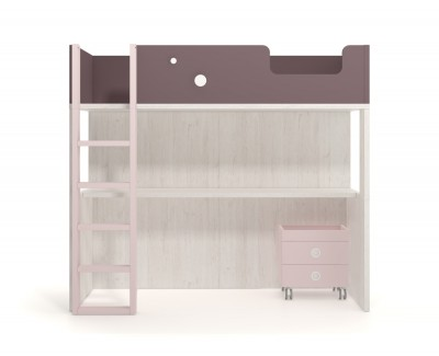 Set comprised of high bed with desk and two drawers on casters