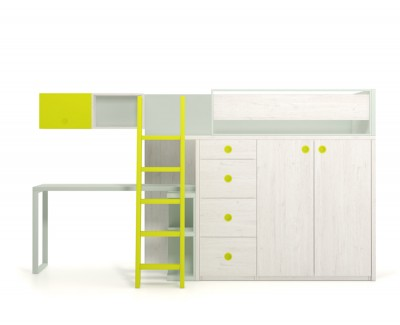 Set comprised of high bed with desk and 4 drawers