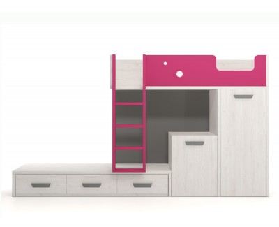Set comprised of bunk bed, desk and pull-out wardrobe