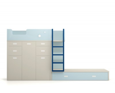 Set comprised of bunk bed, two desks and pull-out shelving unit