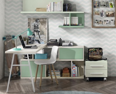 Desk with shelves and drawer unit on casters