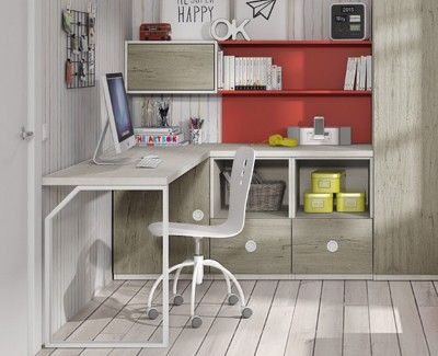 Desk with shelves and drawers