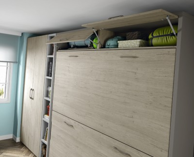 Children's bedroom comprised of folding bunk, wardrobe, shelves and desk
