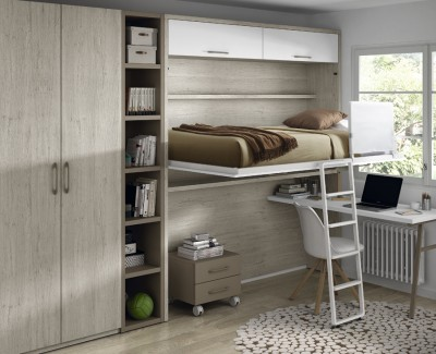 Children's bedroom comprised of wall bed, desk, shelving unit and wardrobe