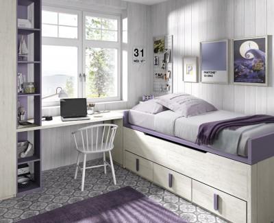 Children's bedroom comprised of storage bed, Corner wardrobe, desk and shelves