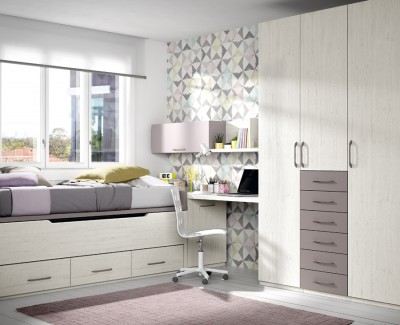 Children's bedroom comprised of storage bed, wardrobe, desk and shelves
