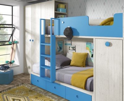 Children's bedroom comprised of bunk bed, wardrobe and pull-out desk