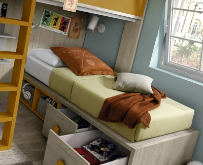 Children's bedroom comprised of bunk bed and wardrobe with hinged doors