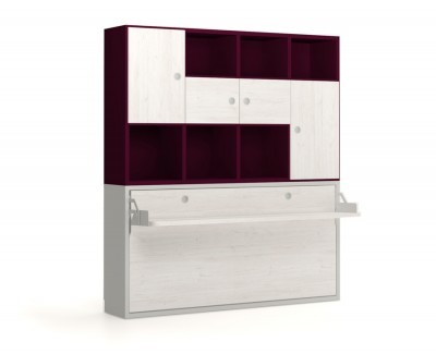 Wall bed with desk and shelving unit