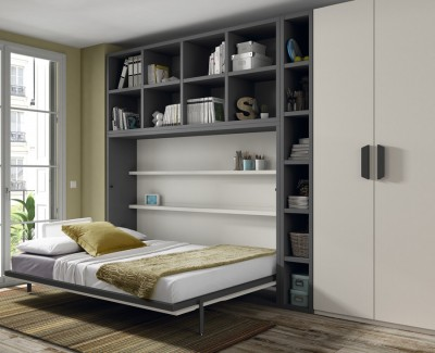 Bedroom comprised of wall bed, wardrobe and shelves