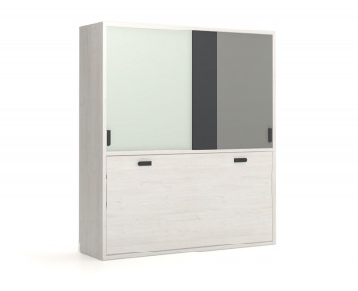 Wall bed with wardrobe with sliding doors