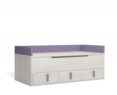 Single bed with trundle bed and 3 drawers