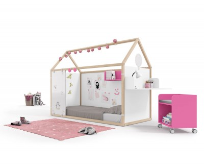 Wooden house bed with magnetic panels, Velleda whiteboard panels and desk