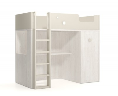 Bunk bed with pull-out wardrobe and a desk