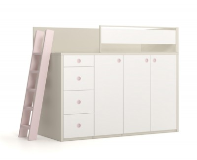 Cabin bed with wardrobe and drawers