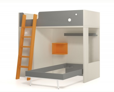 Bunk bed with pull-out wardrobe