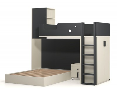 Set comprised of bunk ottoman bed and wardrobe