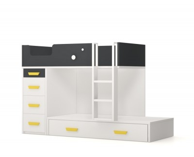 Bunk bed with pull-out bed and 4 drawers