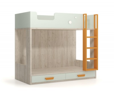 Bunk bed with 2 drawers