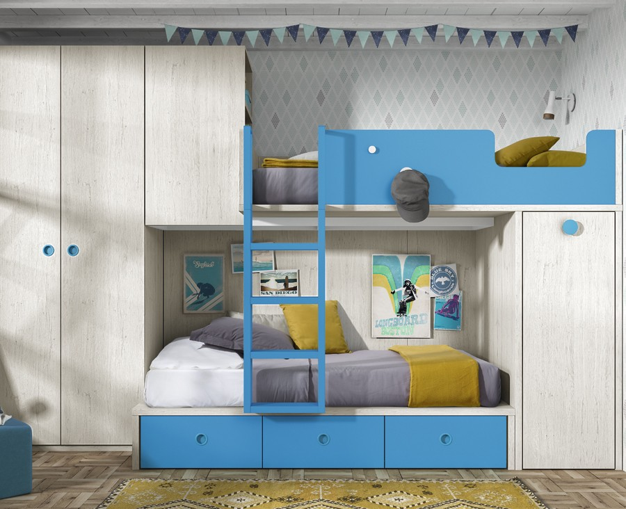 Children S Bedroom With Bunk Bed Wardrobe And Desk