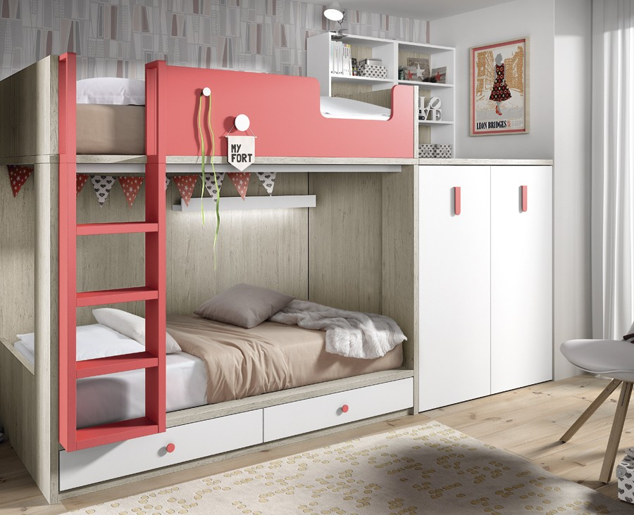 Children S Bunk Bed With Pull Out Wardrobe And Desk Meubles Ros